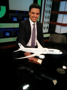 This is a picture of me in the Voice of America studios with the only scale model of a Boeing 787 Dreamliner bearing Iran Air markings.  This was given as a gift by Boeing to Mr. Bijan Kian (former head of the US ExIm Bank). Indeed there is no plan to sell such planes to Iran given the current sanctions regime, but this could be a possibility in the future if sanctions are lifted.